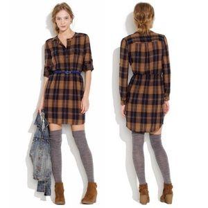 BROADWAY & BROOME Deep Woods Plaid Shirt Dress XS
